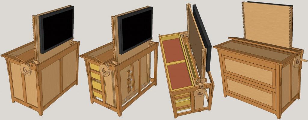 Blanket chest/TV lift; oak, oak plywood, pine plywood