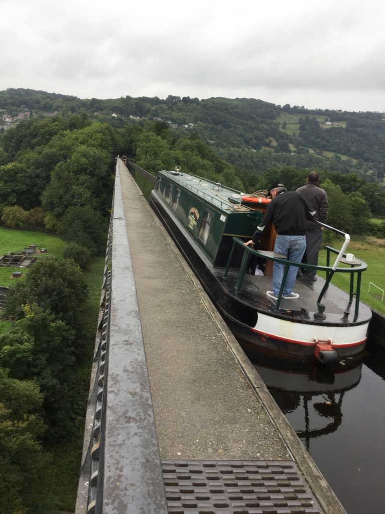 Our narrowboat crossing the Pontcysyllte Aqueduct