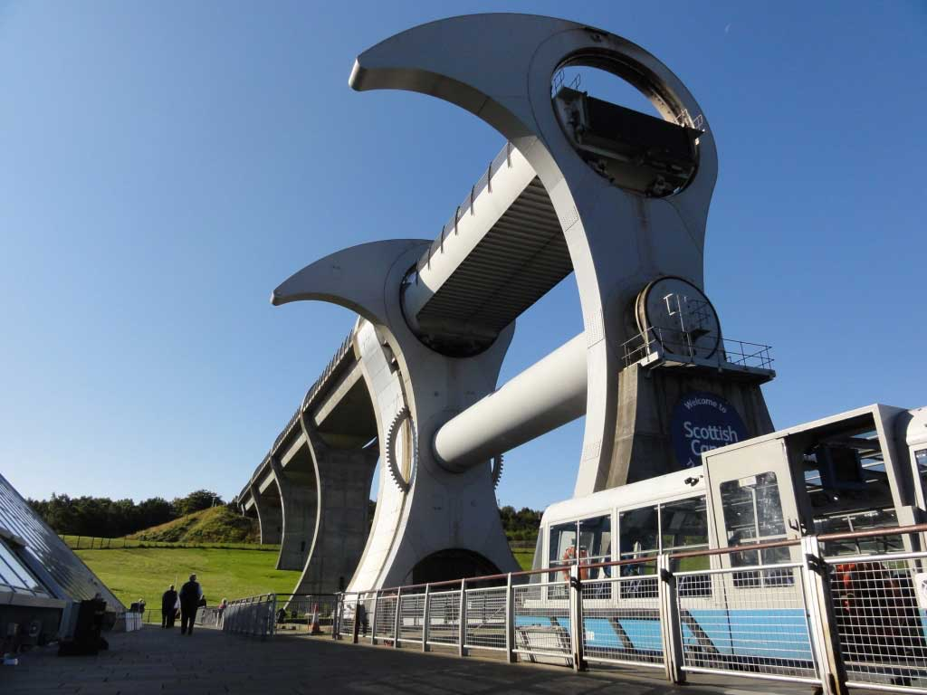 Falkirk Wheel boat lift that unites the Forth and Clyde and Union canals