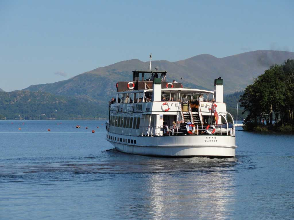 A cruise boat on Lake Windermere, the largest natural lake in England