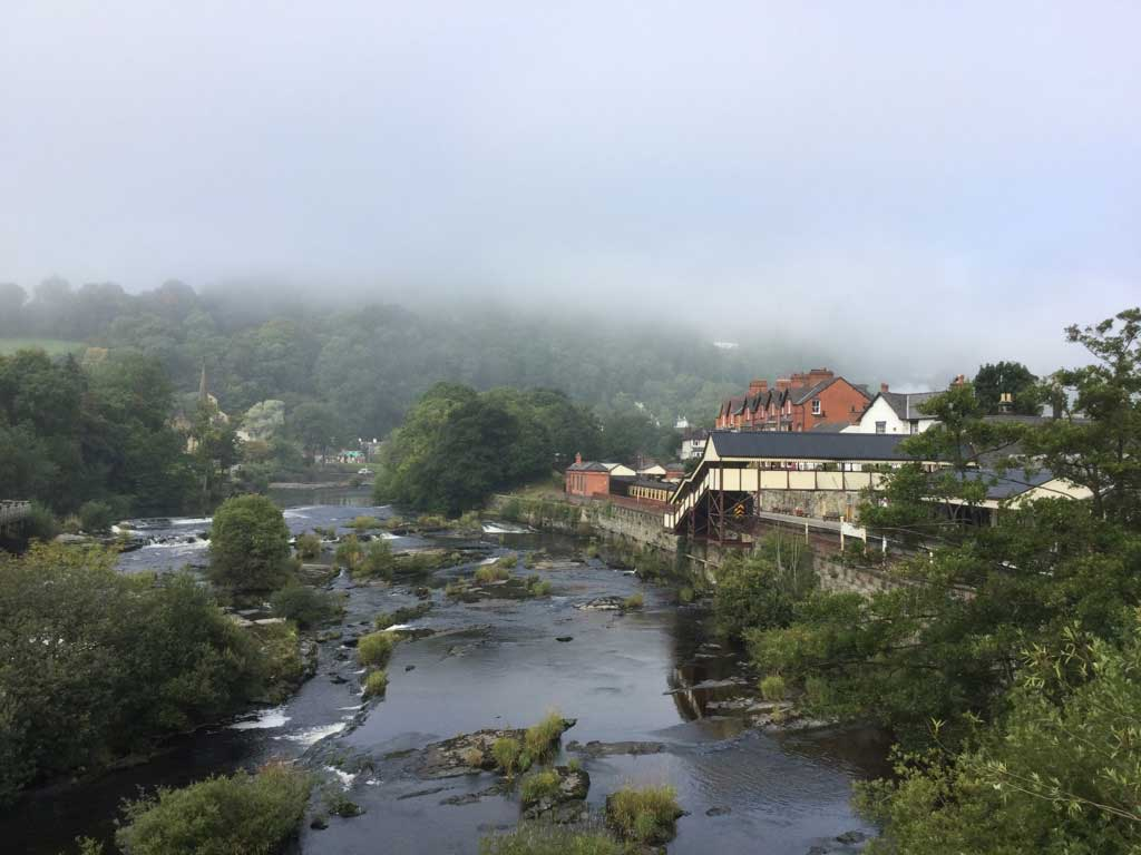 The Llangollen Railway station is to the right on this misty morning