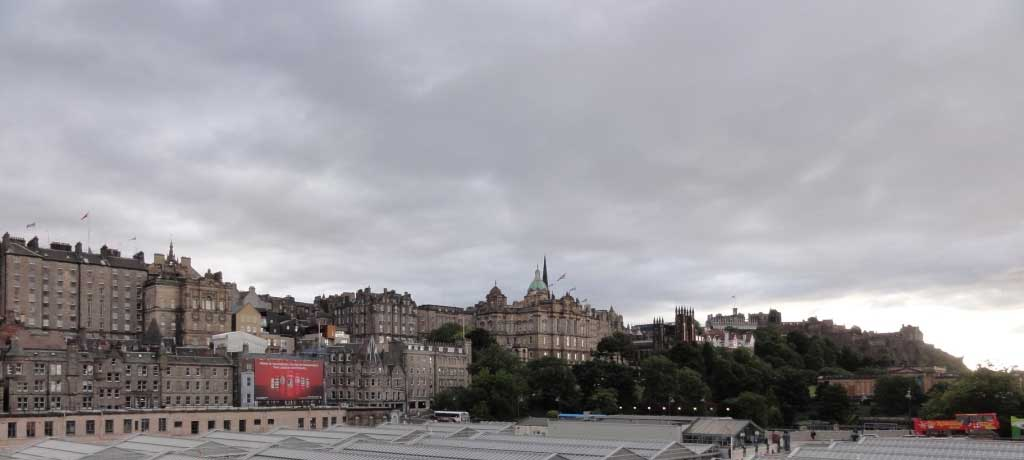 Looking toward Old Town Edinburgh and the castle from North Bridge, with Waverly Station in the foreground