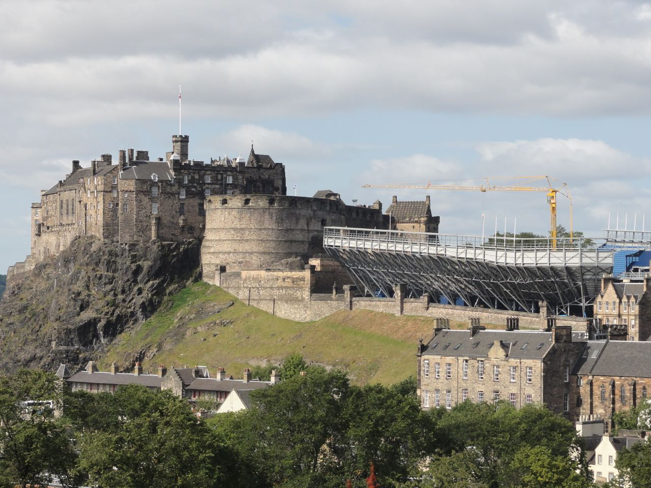 Edinburgh Castle from the roof garden at the Museum of Scotland. You can see the temporary stands being removed.