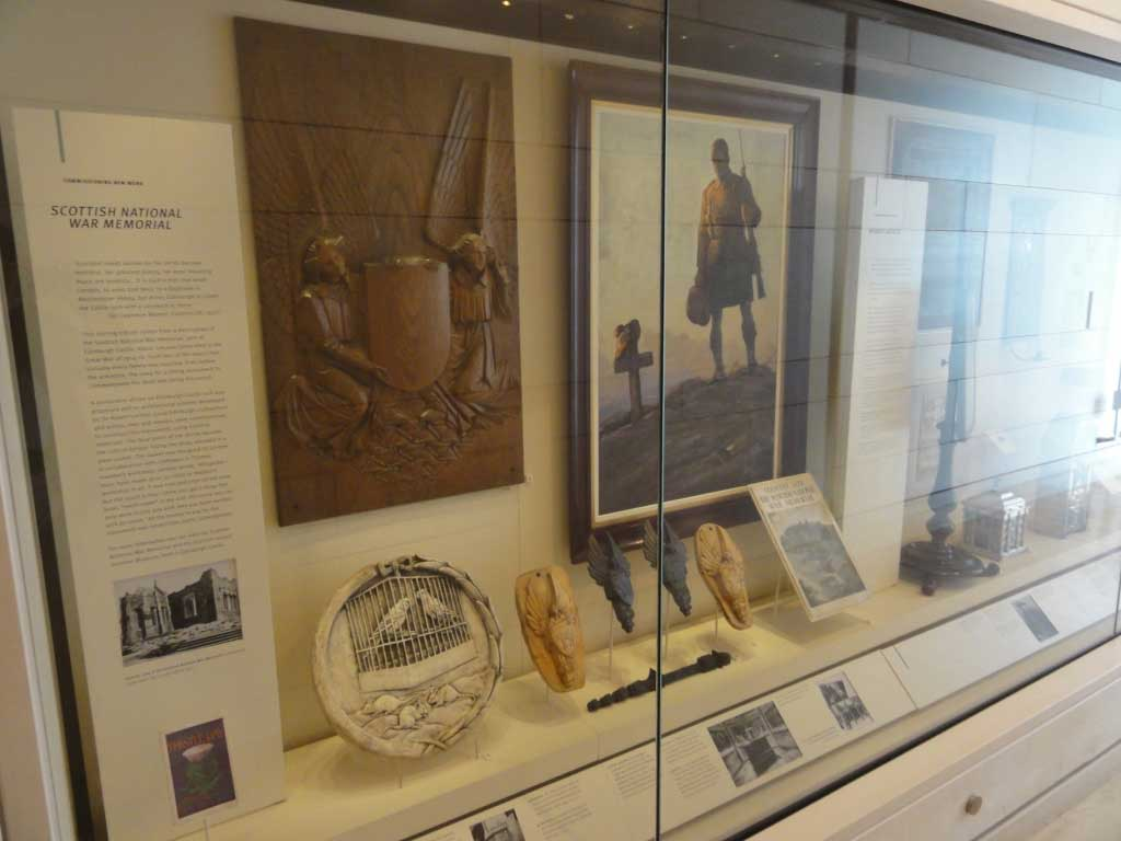 The Museum of Scotland has some of the studies and copies of the plaques, reliefs and paintings that are found in the National War Memorial at the castle